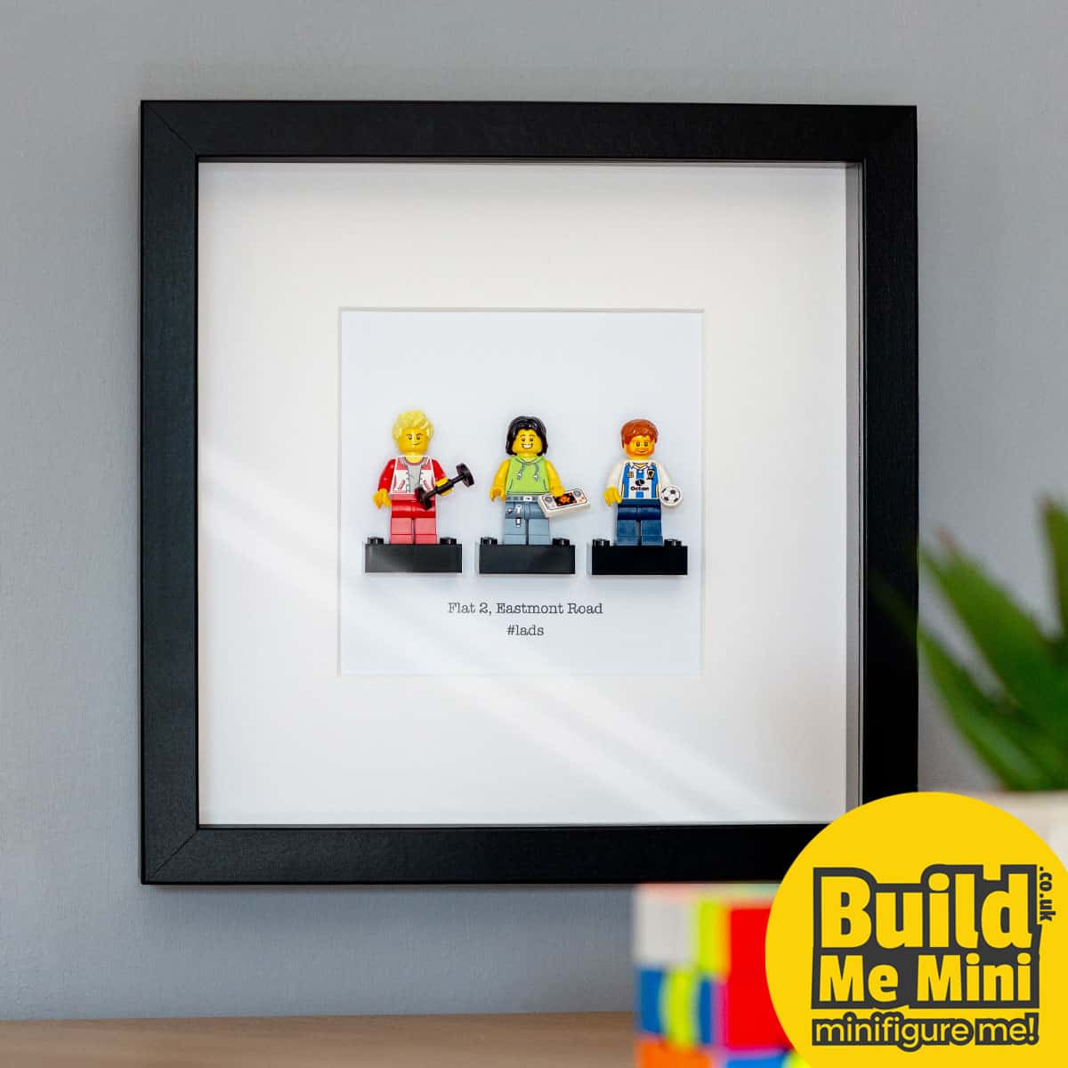 Framed Personalised Minifigures made from LEGO® parts (Triple)