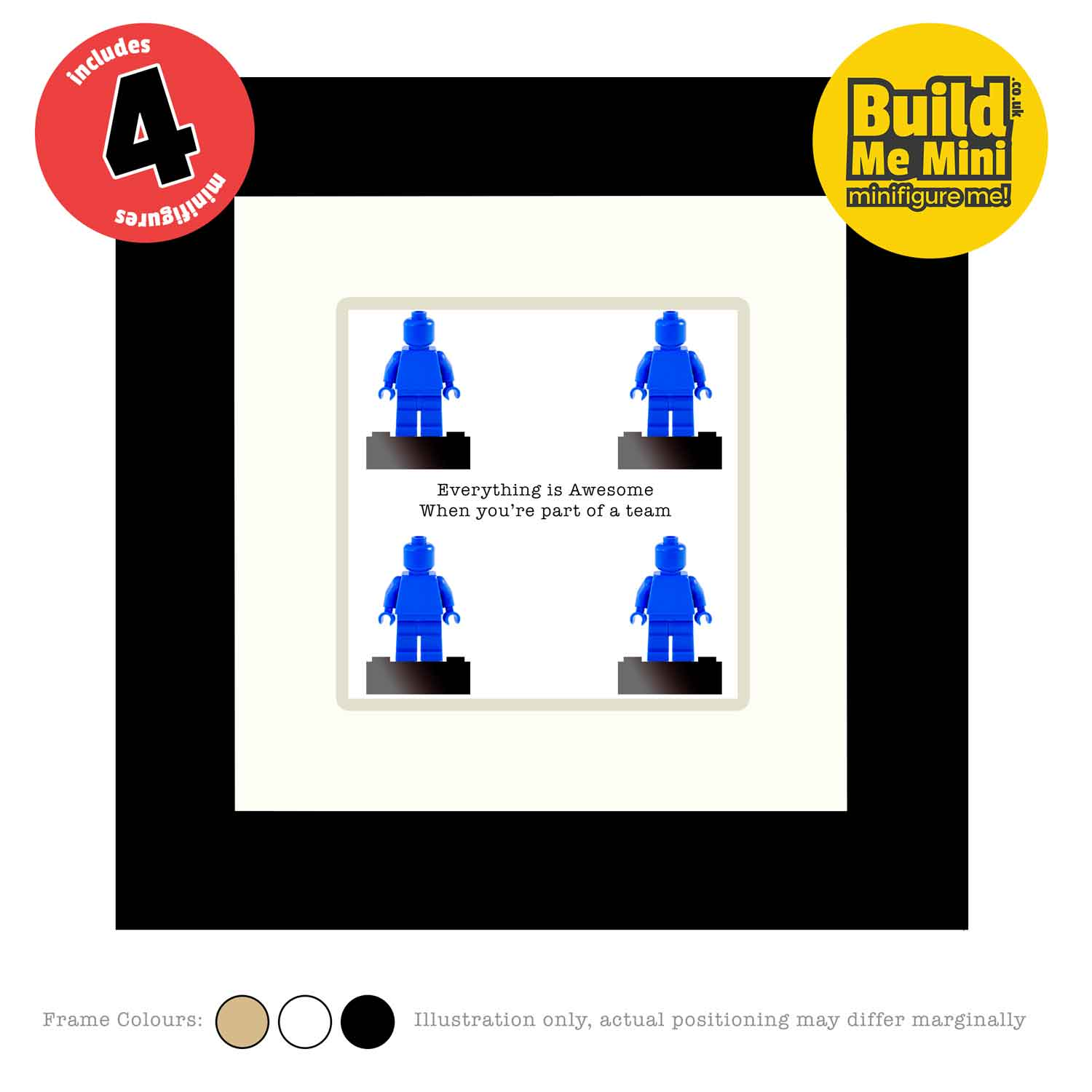 Framed Personalised Minifigures made from LEGO® parts (Four Figures)