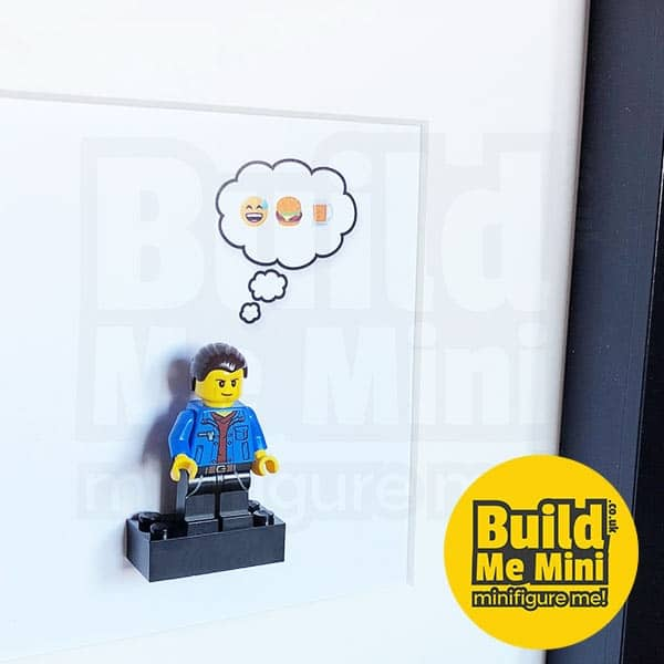 Minifigure Display Frame in White or Black with Emoji Bubble