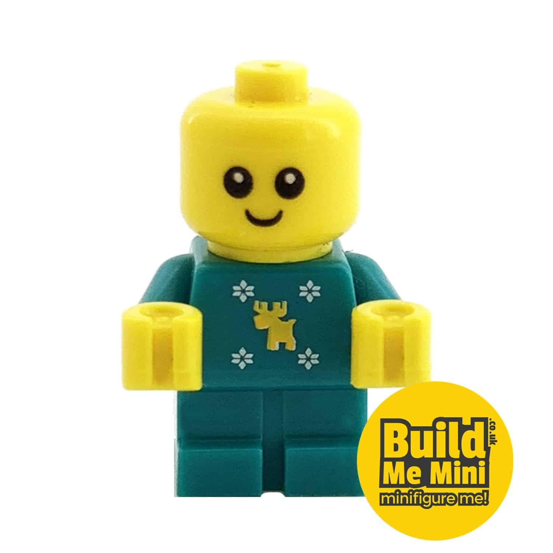 Lego Minifigure Baby – Teal Christmas Jumper Torso