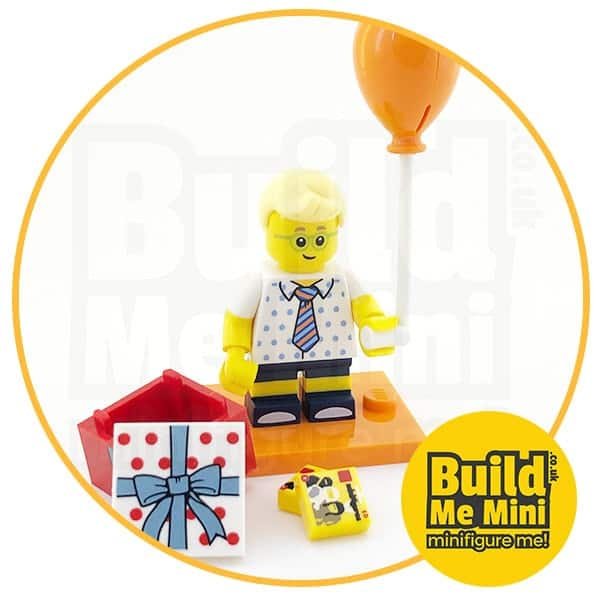 LEGO Series 18 CMF Party Boy, Orange Balloon and LEGO packet Tiles Minifigure